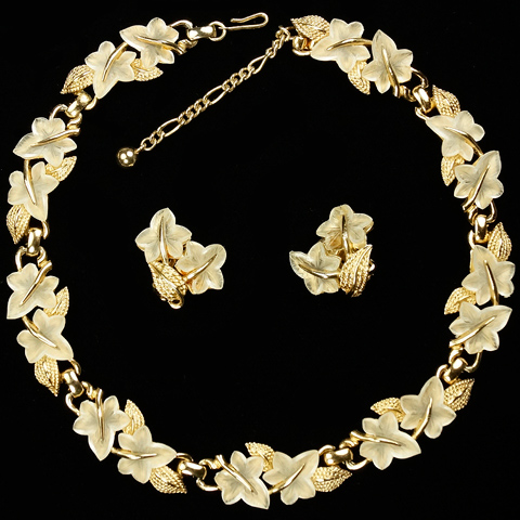 Boucher Gold Leaves and Quartz Crystal Fruit Salad Ivy Leaves Necklace and Clip Earrings Set