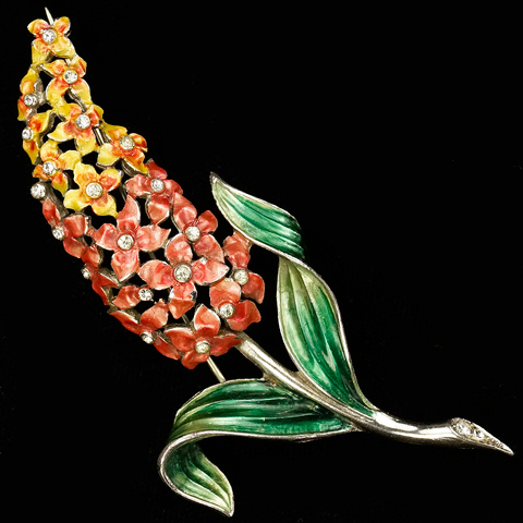 MB Boucher Orange and Yellow Metallic Enamel Hyacinth Pin