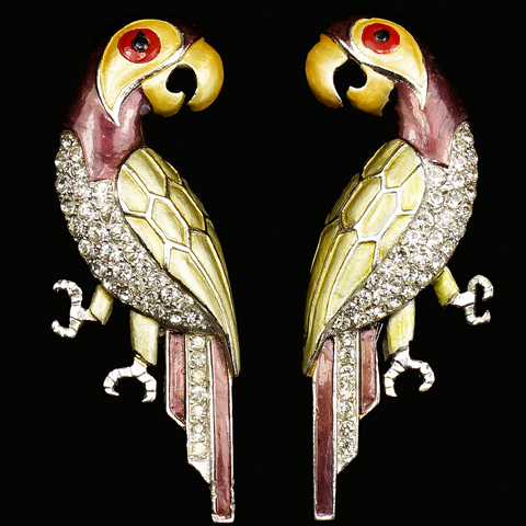 MB Boucher Metallic Enamel Pair of Left and Right Facing Parrots Pin Clips