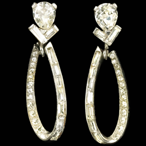 Boucher Pave and Baguettes Pendant Loops Screwback Earrings