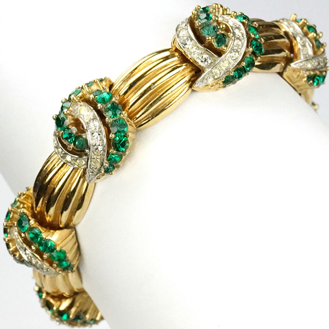 Boucher Gold Swags and Pave and Emerald Swirls Expandable Bracelet