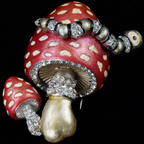 MB Boucher Metallic Enamel Caterpillar on a Double Spotted Mushroom Pin Clip