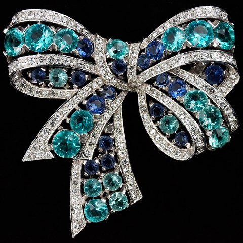 MB Boucher Pave Sapphires and Aquamarines Openwork Bow Pin