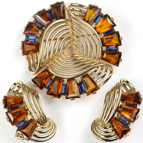 MB Boucher Kite Shape Cut Topaz and Sapphire Baguettes Gold Openwork Swirl Pin and Clip Earrings Set