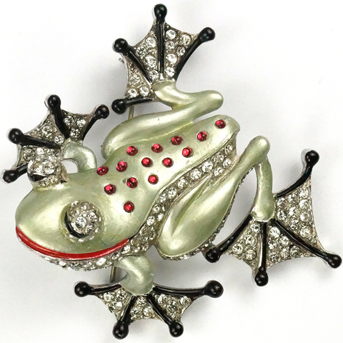 MB Boucher Pave, Metallic Enamel, and Ruby Cabochons Tree Frog Pin