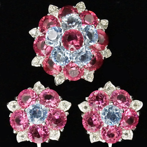 MB Boucher Pink and Blue Topaz Flowers Pin Clip and Screw Mechanism Earrings Set