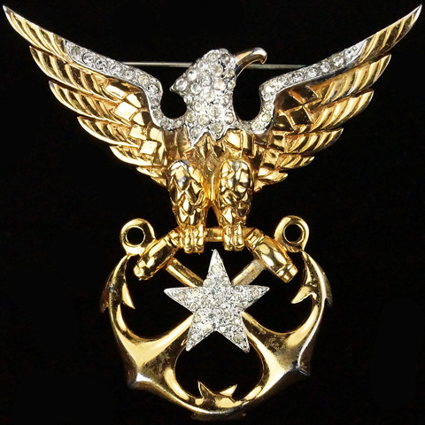 MB Boucher WW2 US Patriotic Gold and Pave Eagle Star and Crossed Anchors Navy Insignia Pin