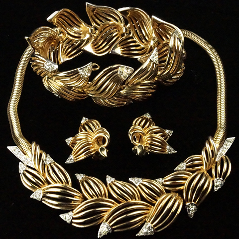 MB Boucher Gold and Pave Highlights Openwork Leaves Necklace Bracelet and Clip Earrings Set