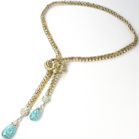 Boucher Gold Spangled Chains and Leaves Double Pendant Teardrop Marbled Turquoise Adjustable Lariat Necklace