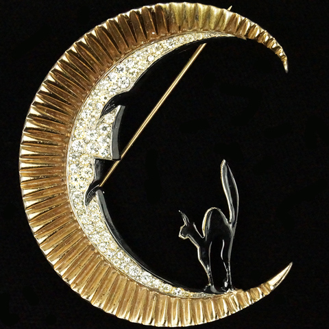 MB Boucher Sterling Gold Pave and Enamel Scared Cat and Man in the Moon Pin