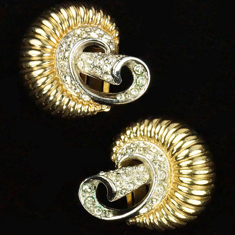 MB Boucher Gold and Pave Swirls Clip Earrings