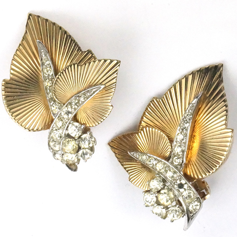Boucher 'Golden Harvest' Gold and Pave Sunburst Leaves Clip Earrings