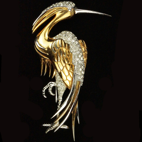 MB Boucher Gold and Pave Standing Heron Bird Pin Clip