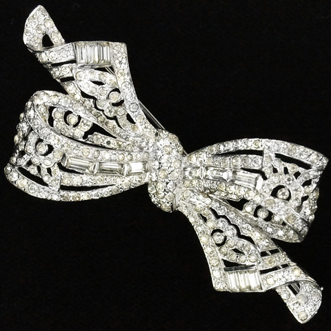 MB Boucher Pave and Baguettes Floral Bow Pin