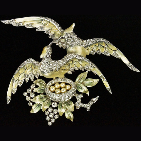 MB Boucher Metallic Enamel Pair of Lovebirds Tending a Nest with Pearl Eggs Pin