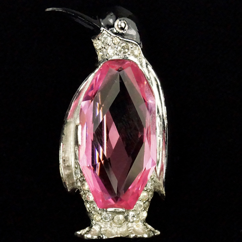 MB Boucher Pave Enamel and Multifaceted Pink Topaz Penguin Pin Clip