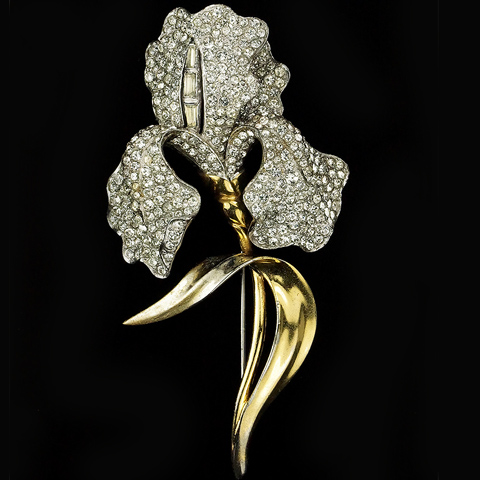 MB Boucher Gold Pave and Baguettes Lily Pin