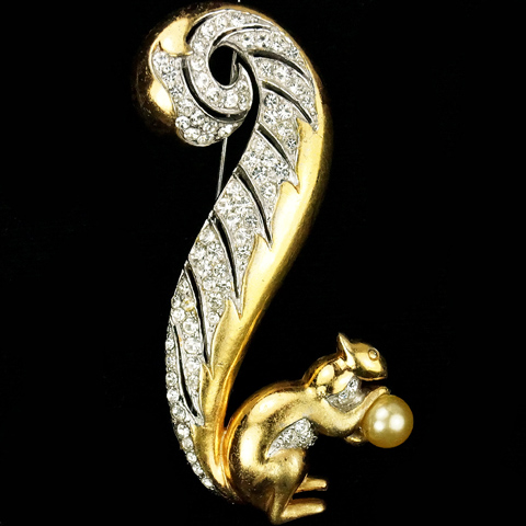 MB Boucher Gold and Pave Large Squirrel holding a Pearl Pin