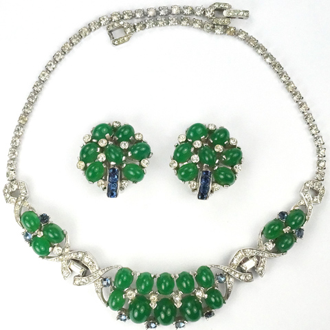 MB Boucher Emerald Cabochons and Invisibly Set Sapphires Necklace and Clip Earrings Set