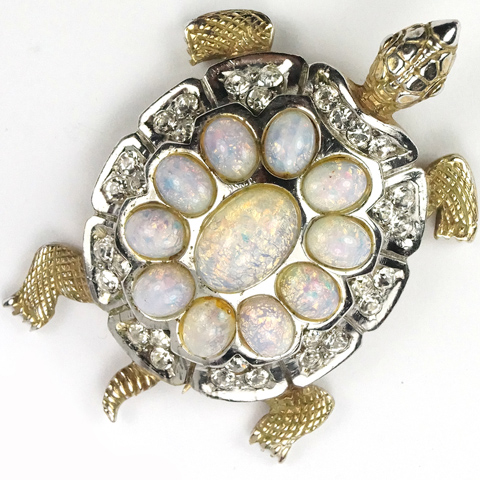 MB Boucher Gold and Opal Cabochons Turtle Pin Clip