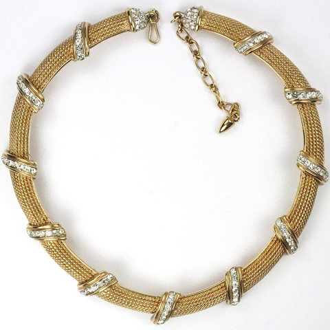 Boucher Gold Braids and Pave Choker Necklace
