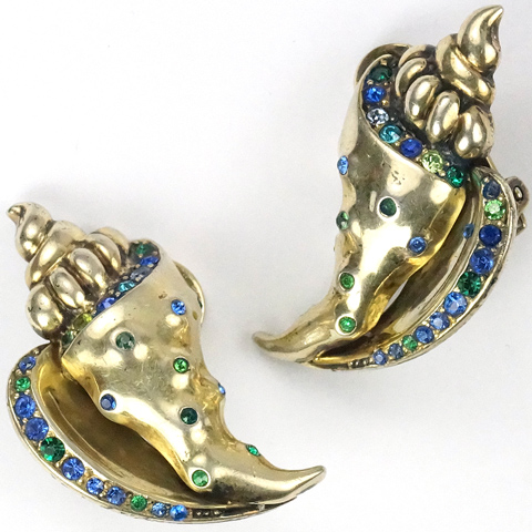MB Boucher Sterling Gold Sapphire and Emerald Sea Shell Clip Earrings