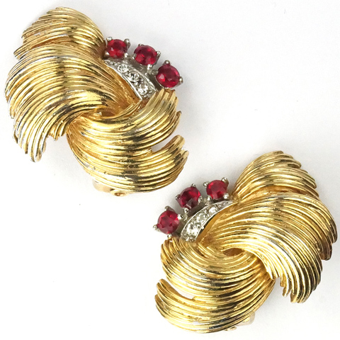 Boucher Gold Swirls and Ruby Spangles Clip Earrings