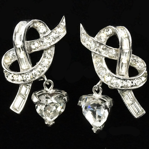 Boucher Pave and Baguettes Bow Knot with Pendant Hearts Clip Earrings