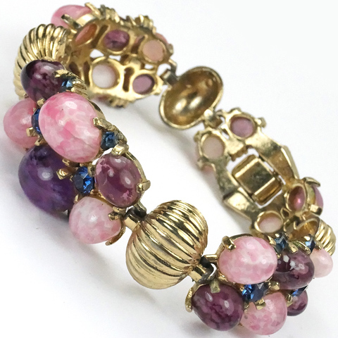 Boucher Gold Sapphires and Triple Pink Quartz and Amethyst Cabochon Clusters Bracelet