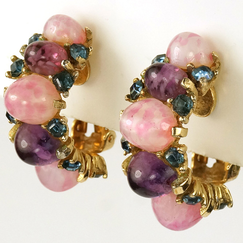 MB Boucher Sapphire Spangles and Amethyst and Pink Quartz Cabochons Crescent Clip Earrings