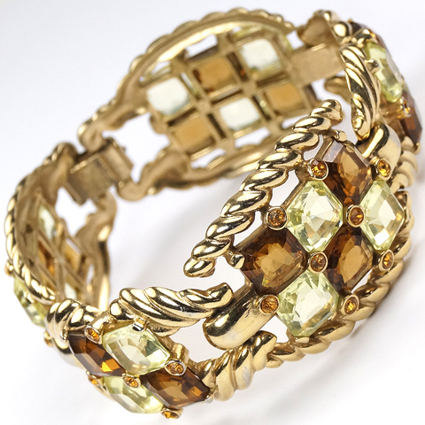 Boucher Gold Ropes Citrine and Topaz Checkerboard Five Link Bracelet