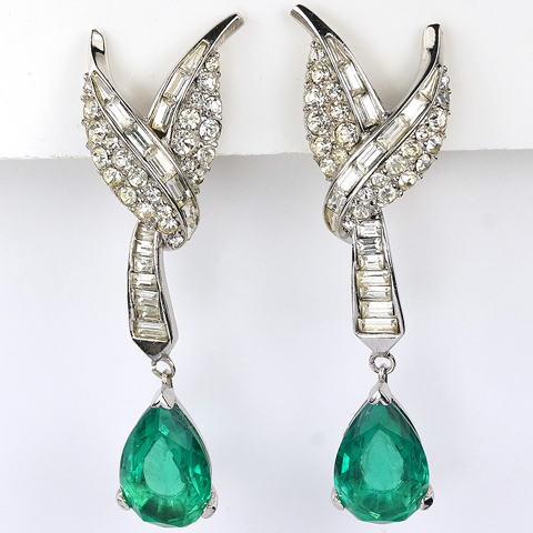 Boucher Pave and Baguette Leaves and Pendant Emerald Teardrop Clip Earrings
