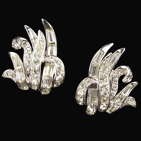 Boucher Pave and Baguettes Waving Grass Clip Earrings