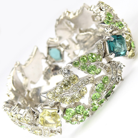Boucher Citrine Peridot and Emerald Leaves and Flowers Bracelet