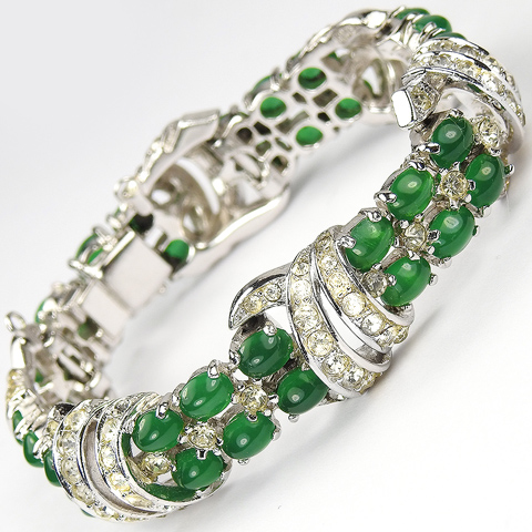 Boucher Sixes of Emerald Cabochons and Pave Swirls Link Bracelet