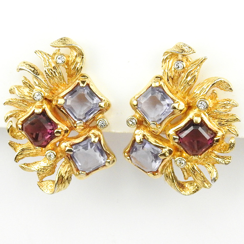 Boucher Gold Swirling Leaves Square Cut Amethysts and Pale Amethysts Clip Earrings