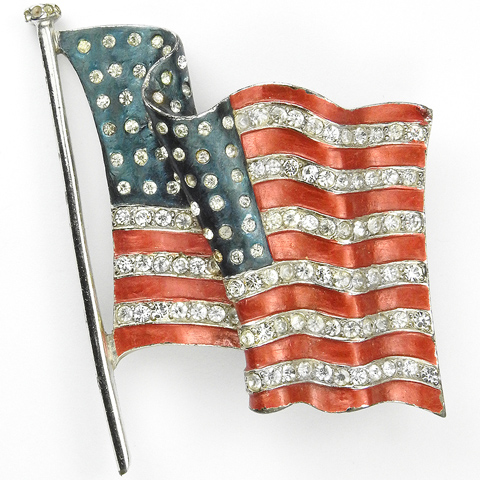 MB Boucher WW2 US Patriotic Metallic Enamel Fluttering Stars and Stripes Flag Pin