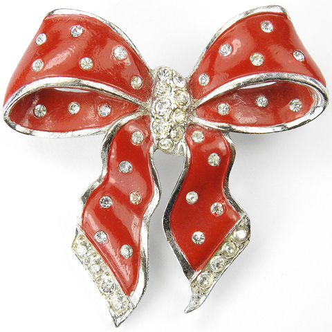 MB Boucher Pave and Red Red Enamel Spangled Bow Pin