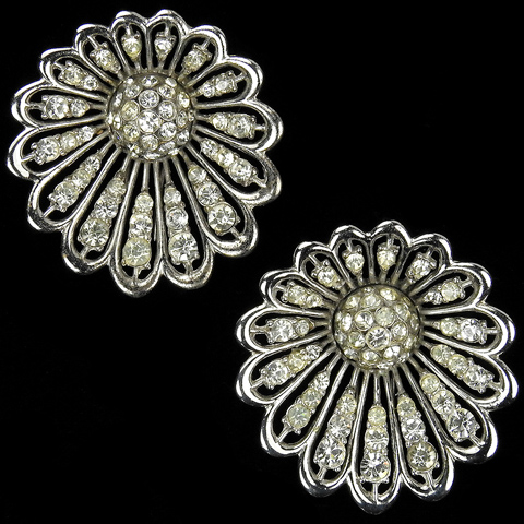 MB Boucher Pave Starburst Flowers Pair of Pin Clips