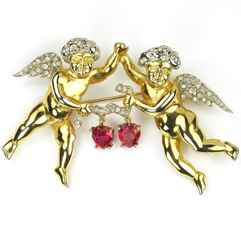 MB Boucher Gold and Pave Pair of Putti Cherubs Holding a Ribbon with Two Pendant Ruby Hearts Pin