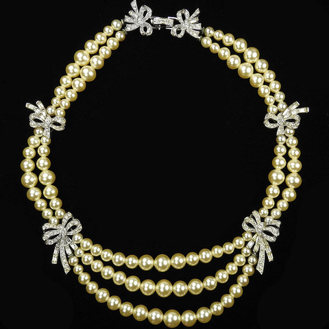 Boucher Triple Strands of Pearls and Multiple Pave Bows Necklace