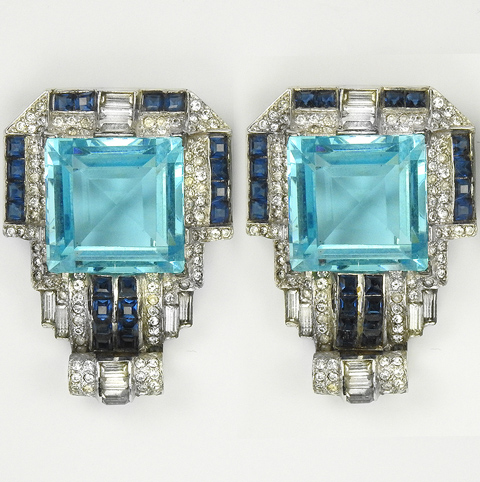 MB Boucher Pave Invisibly Set Sapphires and Square Cut Aquamarines Pair of Doorknocker Pin Clips