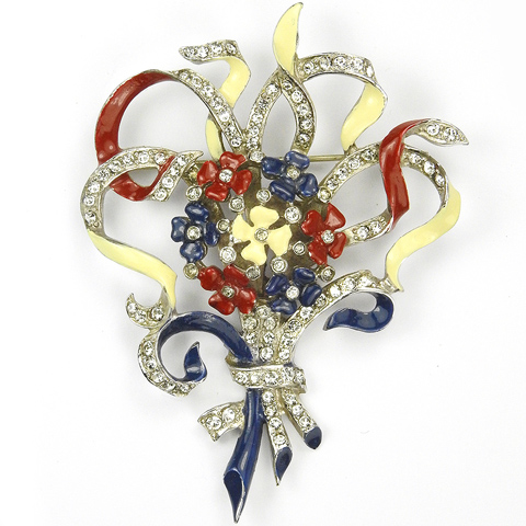 MB Boucher WW2 US Patriotic Red White and Blue Lucky Four Leaf Clovers and Bows Floral Spray Pin