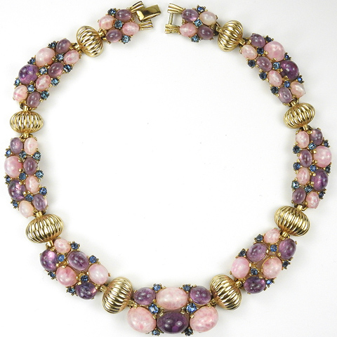 Boucher Gold Hemispheres Amethyst Sapphire and Pink Quartz Cabochons Necklace