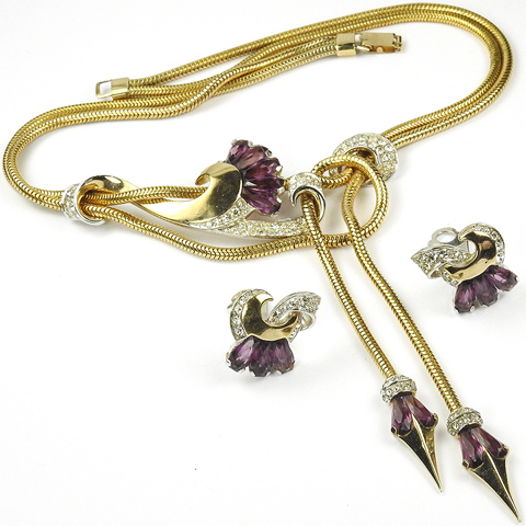 Boucher Gold Pave and Kite Shaped Amethysts Swirls and Double Pendants Necklace and Clip Earrings Set