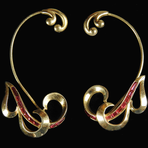 Boucher Gold and Invisibly Set Rubies Initial Letter 'B' Over the Ear Earrings