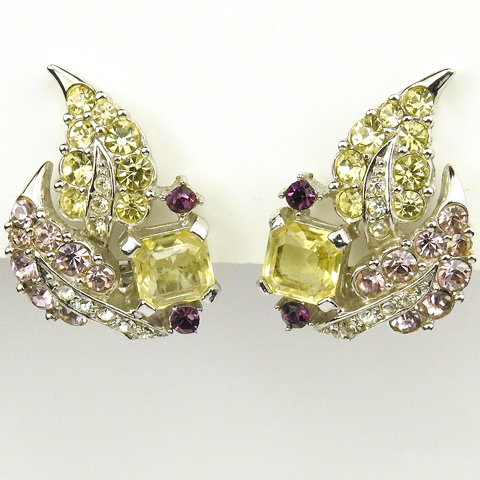 Boucher Amethyst and Citrine Pave Leaves Clip Earrings