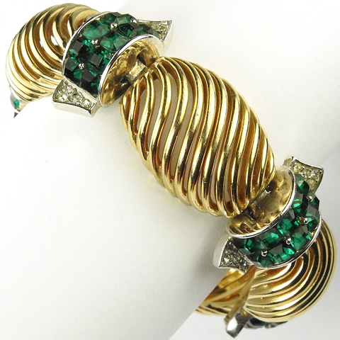 MB Boucher Gold Lattice Swirls Pave and Invisibly Set Emeralds Link Bracelet