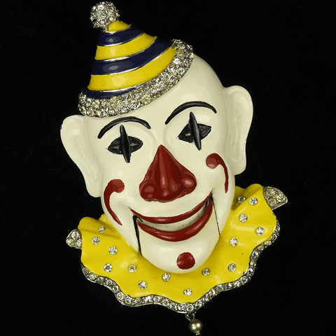 MB Boucher Pave and Enamel White Faced Clown with Moveable Mouth Pin Clip