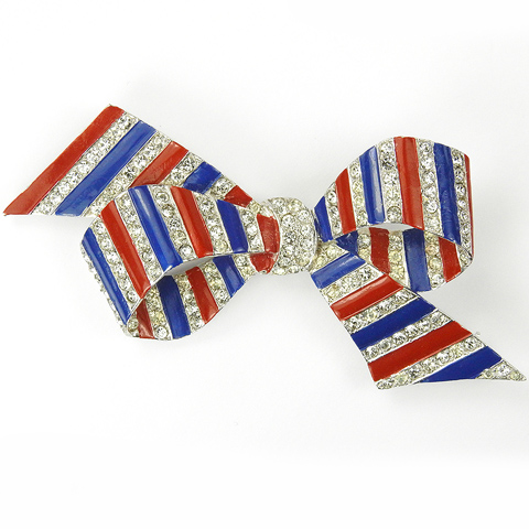 MB Boucher Metallic Enamel WW2 US Patriotic Red White and Blue Bow Pin